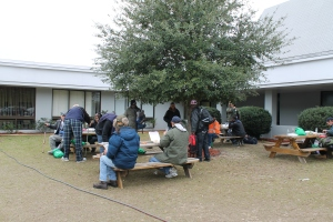 Homeless individuals enjoy lunch at the 2016 U-Count